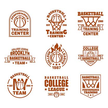 Set of isolated basketball icons with ball, basket