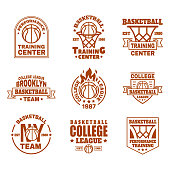 Set of isolated basketball. Icons with basket and ball, ribbon and shield for training club or team badge design. New York college team emblem or sport. Branding and streetball theme