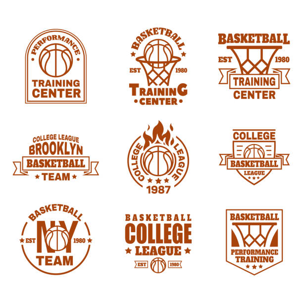 Set of isolated basketball icons with ball, basket Set of isolated basketball. Icons with basket and ball, ribbon and shield for training club or team badge design. New York college team emblem or sport. Branding and streetball theme basketball stock illustrations