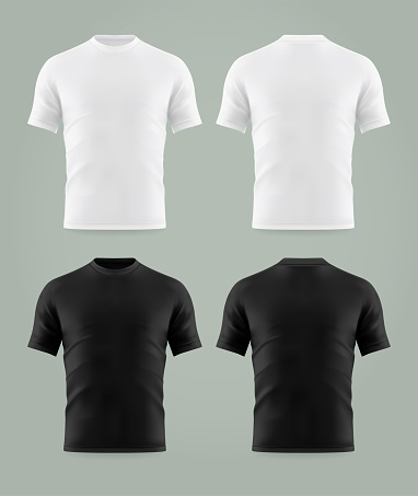 Set of isolated black and white t-shirt template