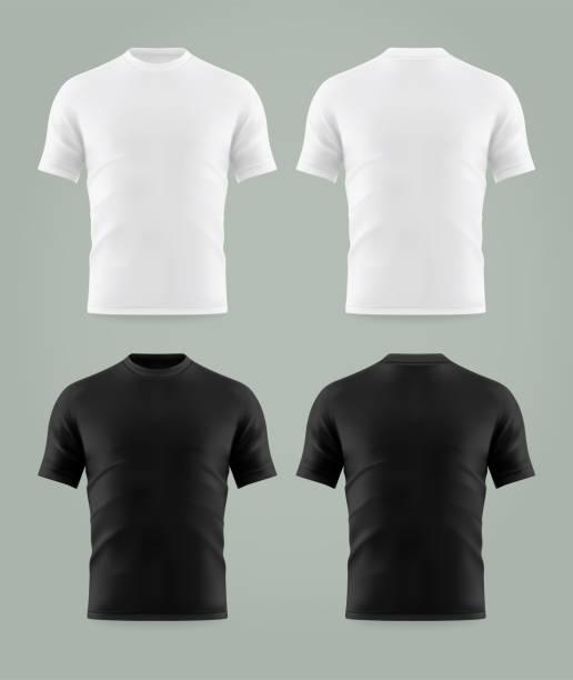 stockillustraties, clipart, cartoons en iconen met set van geïsoleerde zwart-wit t-shirt sjabloon - t shirt