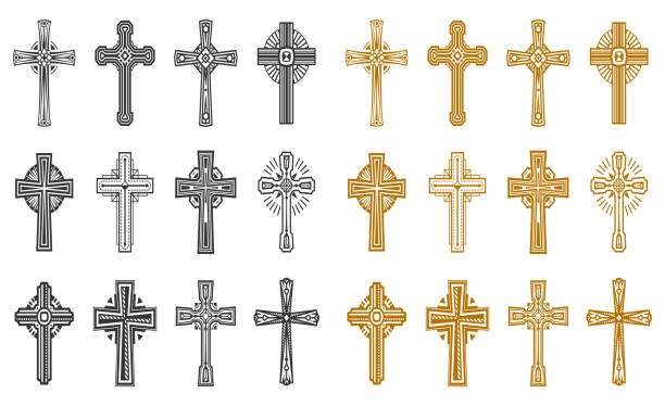 ilustrações de stock, clip art, desenhos animados e ícones de set of isolated black and yellow religion cross - milagre evento religioso