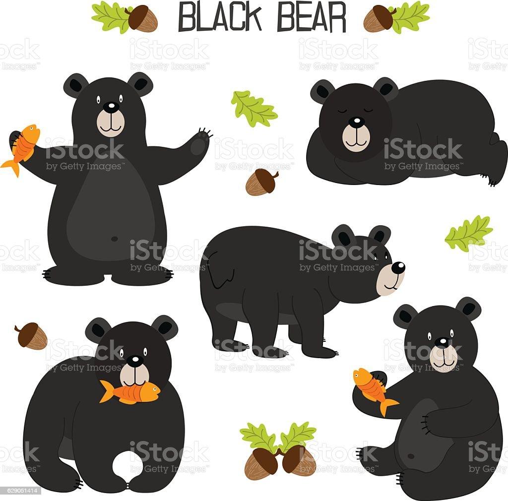 set of isolated black bear vector art illustration