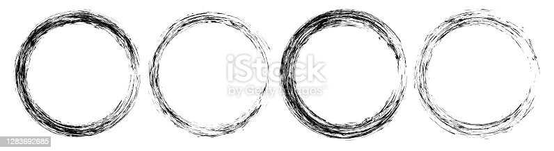 Set of isolated black textured ink brush circles