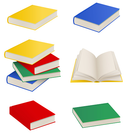 set of isolated books, stack of books and open book