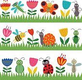 set of isolated borders with funny insect - vector illustration, eps