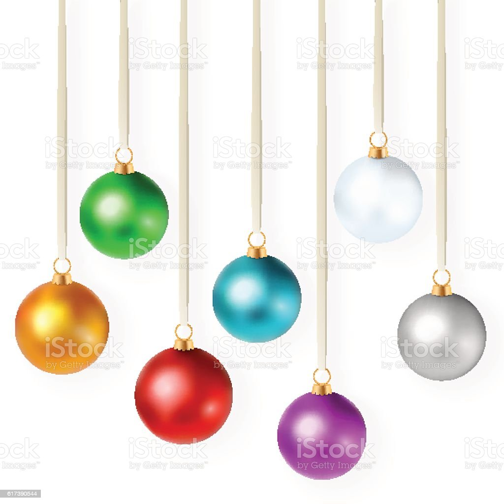 Set Of Isolated Bright Colorful Christmas Ornaments Stock Vector Art ...
