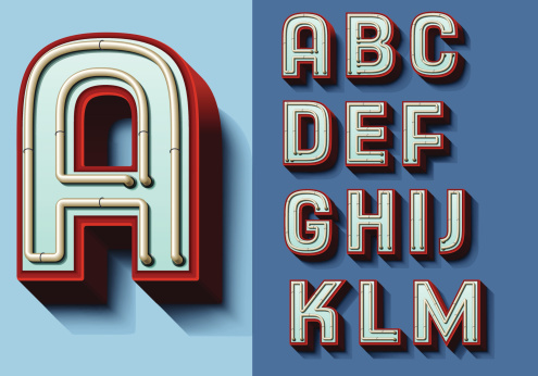 Set of isolated capital letters A—M