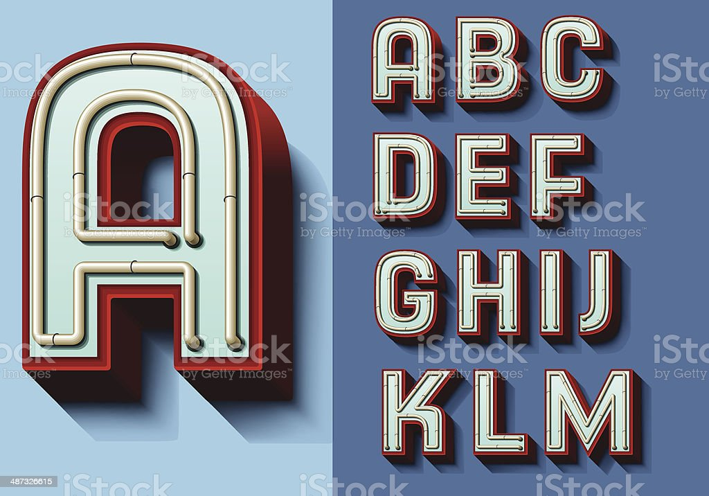 Set of isolated capital letters A—M vector art illustration