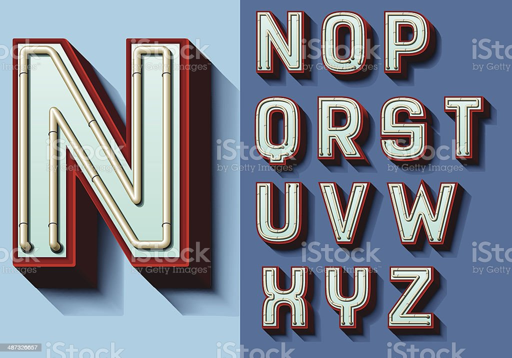 Set of isolated capital letters N-Z vector art illustration