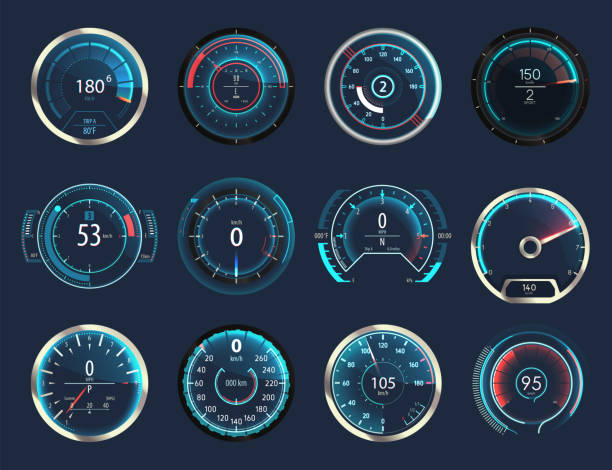 Set of isolated car or moto, truck speedometer Set of isolated car or moto, truck speedometer. Motorbike or motorcycle, auto or automobile, lorry speed measure gauge. Odograph or odometer. Icon for download progress display, performance indicator dial stock illustrations