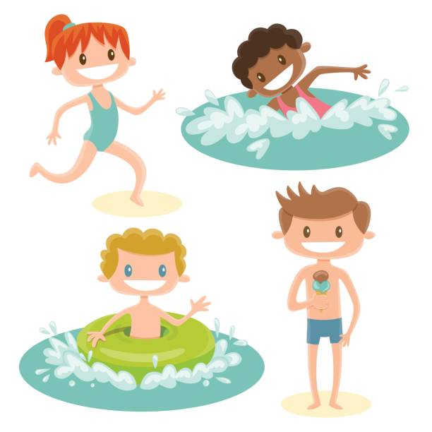 set of isolated cartoon kids playing at the beach. a red-haired girl running, a black girl swimming, a blonde boy with a swimming float in the sea and a brown hair boy eating an ice-cream. - redhead stock illustrations, clip art, cartoons, & icons
