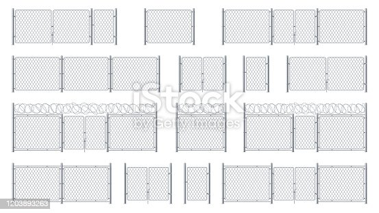Set of isolated chain link fences with barbed wires and chainlink, entrance or gate, cage wicket. Barrier for jail or obstacle for security, steel or metal wall with barbwire, chained military border