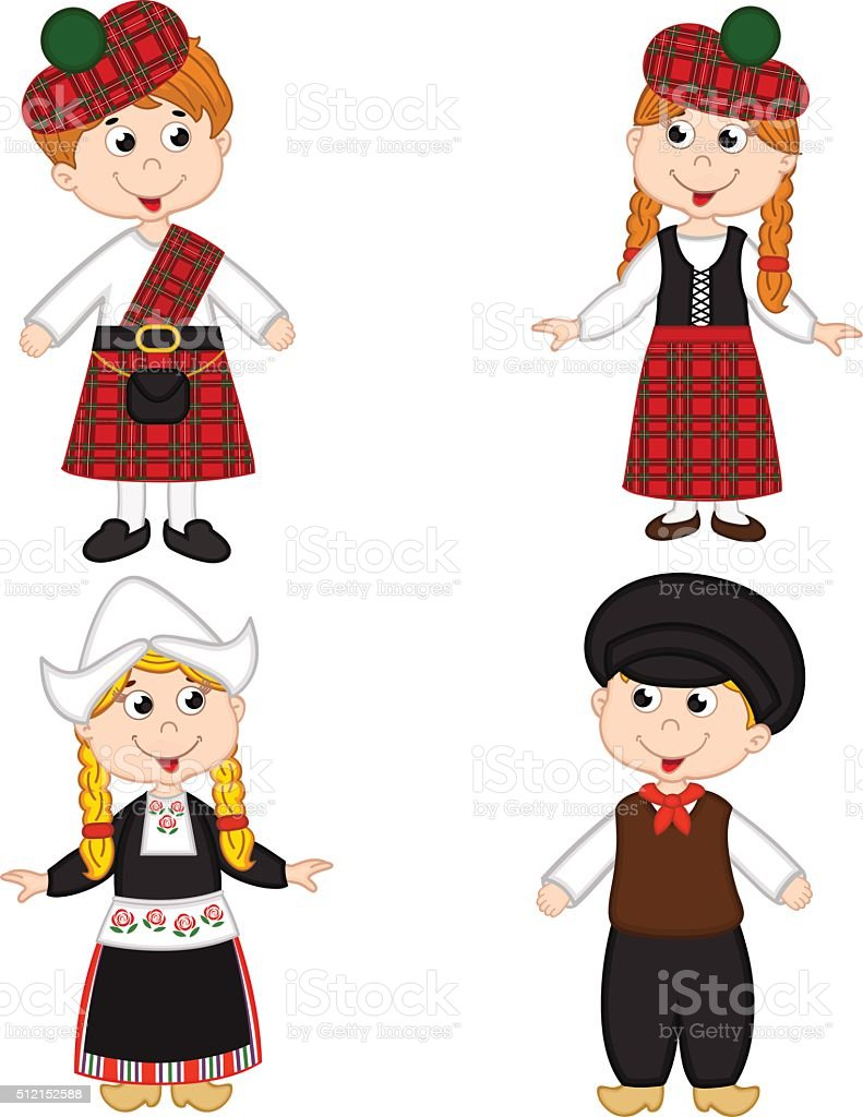 set of isolated children of Scotland and Netherlands nationalities vector art illustration