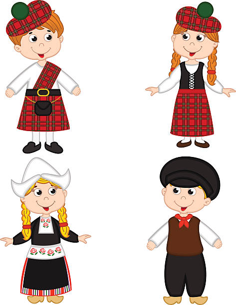set of isolated children of scotland and netherlands nationalities - dutch traditional clothing stock illustrations, clip art, cartoons, & icons