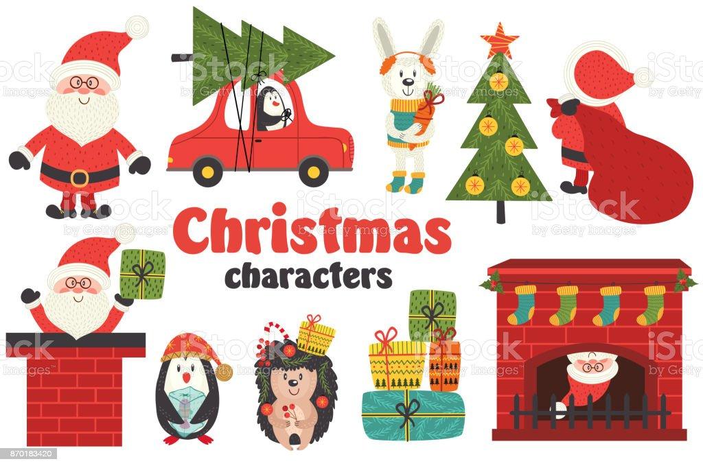 Satz Von Isolierten Weihnachten Zeichen Teil 1 Vektor Illustration ...