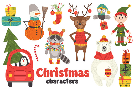 set of isolated Christmas characters part 2