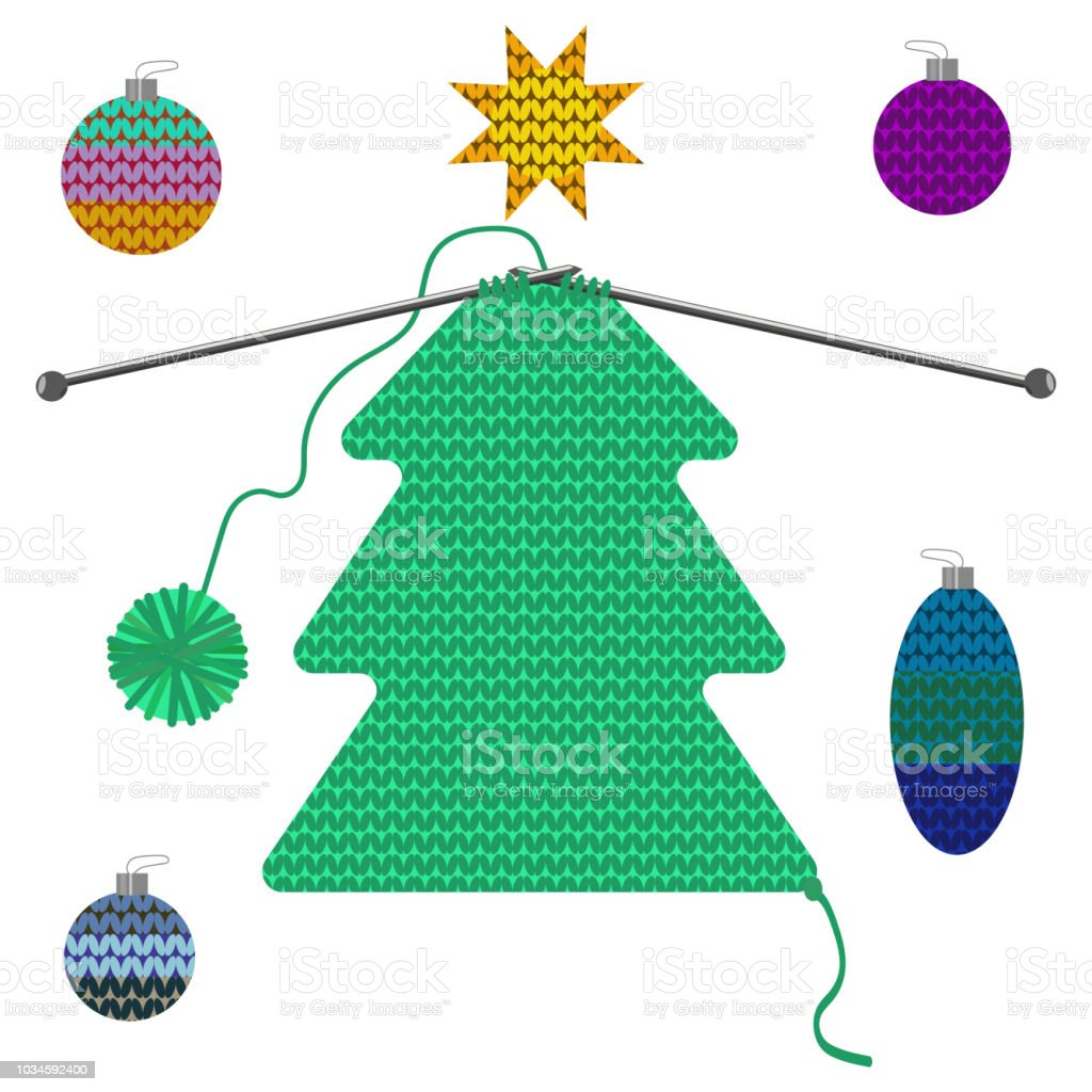 Set Of Isolated Christmas Tree And Decoration Of Knitted Texture