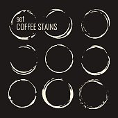 Set of isolated coffee stains