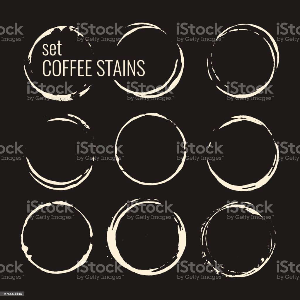 Set of isolated coffee stains vector art illustration