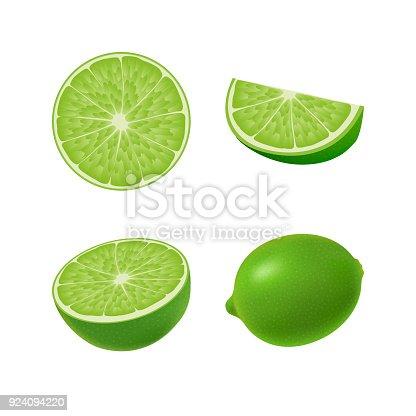 Ilustración de Conjunto De Aislados De Color Lima Verde Mitad ...