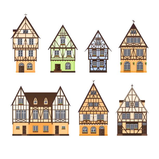 stockillustraties, clipart, cartoons en iconen met * - set van geïsoleerde gekleurde halve houten gebouwen op witte achtergrond. collectie van platte gevels van europese framing huizen, / b & b. - vakwerk