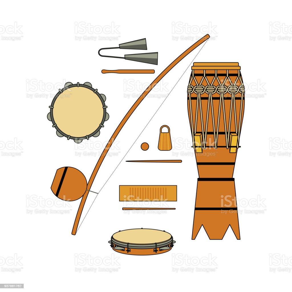 Satz Von Isolierten Bunten Brasilianischen Musikinstrument Für ...