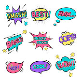 Collection of vector colorful glossy cloud buttons. Image contains transparency in light shapes. 10 EPS