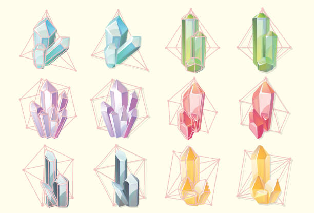 Set of isolated contour of gemstones, Orange crystals in grid and colorful diamonds in geometric net. Set of isolated gems crystals stock illustrations