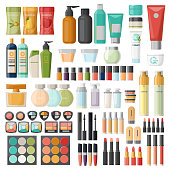 Set of isolated cosmetic and hygiene items, skincare and beauty accessory, woman body care. Lotion and shampoo, toothbrush and eye shadow, shower gel and brush, spray and soap. Bath and health