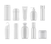 Set of isolated cosmetic or perfume containers