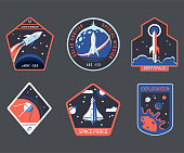 Set of isolated cosmos or universe concept chevron or astronaut patch, galaxy explorer stripe or cosmonaut retro badge. Logo with shuttle and rocket, satellite and solar system. Mars exploration theme