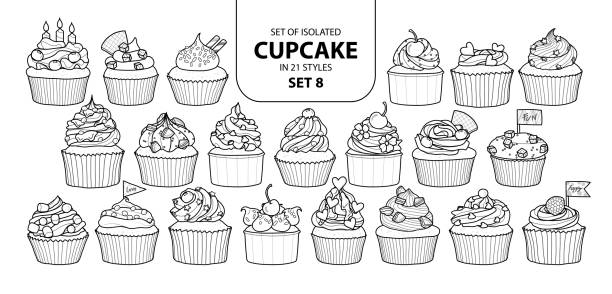 Set of isolated cupcake in 21 styles set 8. Set of isolated cupcake in 21 styles set 8. Cute hand drawn dessert in black outline and white plane on white background. cupcake stock illustrations
