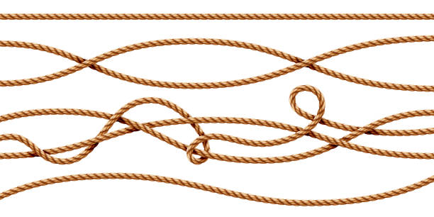 set of isolated curvy 3d ropes. straight and tied up sailor strings. realistic marine cord or retro, vintage navy thread. twisted hemp or jute nautical line with knot, intertwined loop. whipcord - sznurek stock illustrations