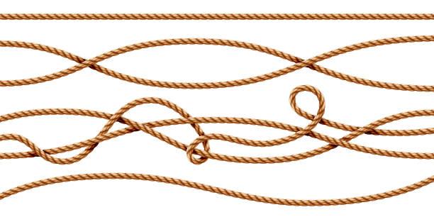 stockillustraties, clipart, cartoons en iconen met set van geïsoleerde bochten 3d touwen. rechte en vastgebonden sailor strings. realistische marine koord of retro, vintage navy draad. gedraaide hennep of jute nautische lijn met knoop, met elkaar verweven lus. whipcord - touw