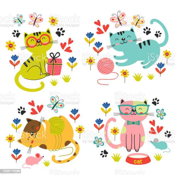 Set of isolated cute cats in flowers vector id1038775096?b=1&k=6&m=1038775096&s=612x612&h=07bllz9uqwyfuisrxyya9viytc6y5nt2mczjmo1dbc0=