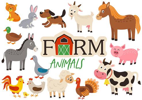 set of isolated cute farm animals