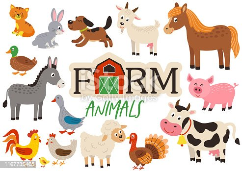 set of isolated cute farm animals- vector illustration, eps