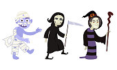 Set of isolated hand drawn different spooky Halloween characters and costumes for holiday over white background vector illustration. Celebration Halloween concept