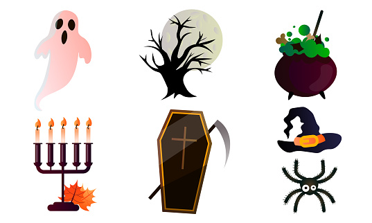 Set of isolated different traditional objects for celebrating Halloween holiday