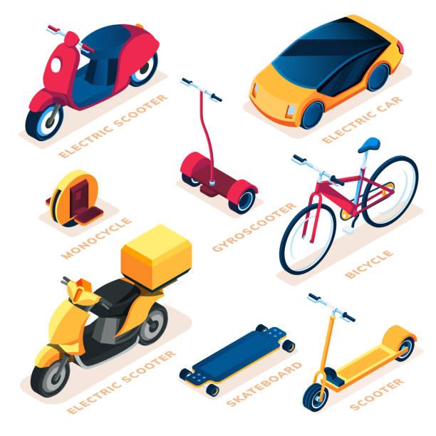 stockillustraties, clipart, cartoons en iconen met set van geïsoleerde eco of ecologie transport voertuig. elektrische scooter en elektrische auto, monocycle en gyro scooter, skateboard en gyroscooter, fiets. groene energie voertuig. milieu en ecologic - step