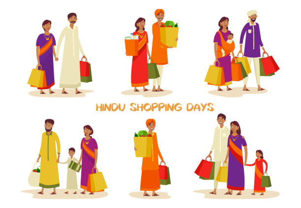 Set of isolated families during shopping at shop Set of isolated Indian people or person at mall shopping. Man and woman with pack at supermarket. Father and mother, kid or child with grocery. Hindu culture, shop and store, buyer theme indian family stock illustrations