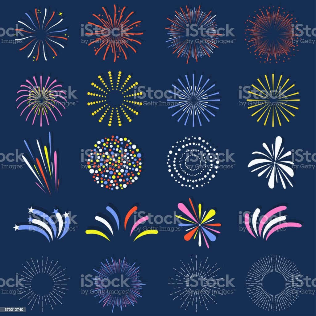 Set of isolated fireworks. Brightly, colorful and monochrome celebration firework balls vector art illustration