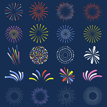 Set Of Isolated Fireworks Brightly Colorful And Monochrome Celebration Firework Balls Stock Illustration - Download Image Now