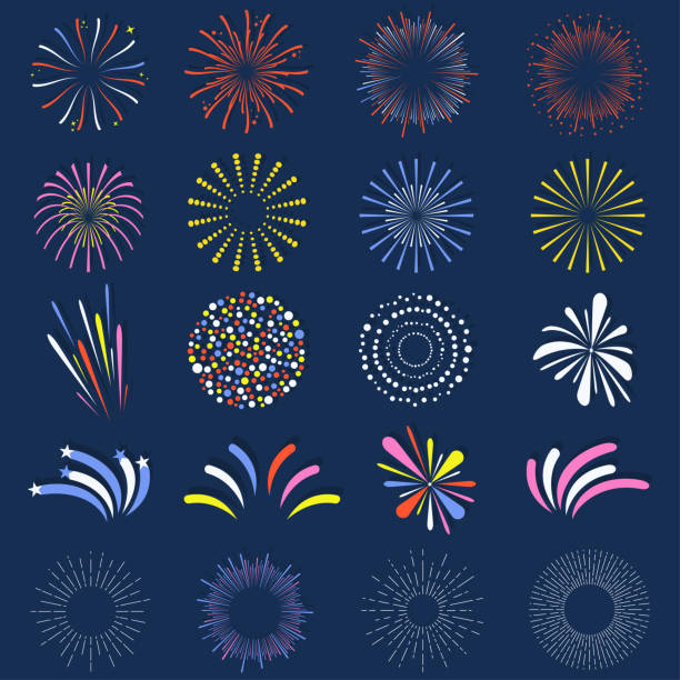 Set of isolated fireworks. Brightly, colorful and monochrome celebration firework balls Set of isolated fireworks. Brightly, colorful and monochrome celebration firework balls. Vector sparkler stock illustrations