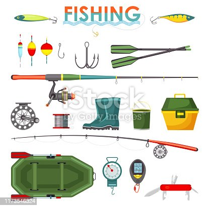 Set of isolated fisherman items or equipment, accessory icons. Fish tackle and hook, rod and float, lure and bait, boots and bucket, rubber boat and weighter, swiss knife. Fishing and sport angler