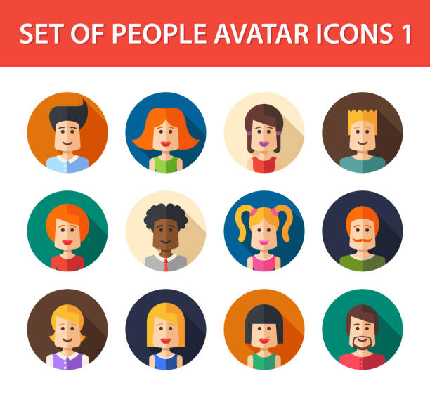 set of isolated flat design people icon avatars for social - old man computer silhouette stock illustrations, clip art, cartoons, & icons