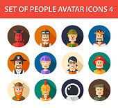 Set of isolated flat design people icon avatars for social