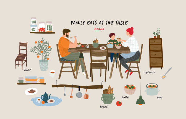 set of isolated flat vector elements: happy family eating breakfast, lunch or dinner at the table at home in the kitchen and interior objects and furniture in the living room in the apartment vector art illustration