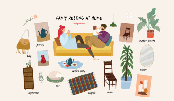 Set of isolated  flat vector illustrations of a happy family with a child at home and interior objects and furniture in the living room in an apartment vector art illustration